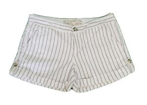 """OLD NAVY Women's """"Lowest Rise"""" SHORTS Chino Size 6  Cuffed Striped White Black"""