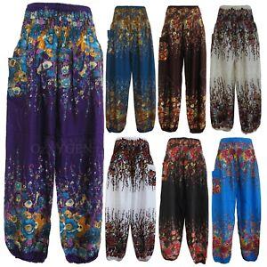 New Ladies Smock Harem Pants Baggy Bohemian Boho Hippie Aladdin Yoga Trousers HP