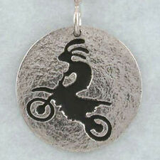 Kokopelli Jumping Dirt Bike, Motocross, Hand Crafted Sterling Silver Pendant