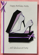 Personalised Shoes Birthday Card: Wife Sister Mum Friend. 30th 40th 50th 60th +