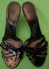 BURBERRY PATENT  HEELS LEATHER  SHOES SLIDES  38