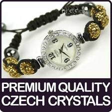 Quality Shamballa WATCH Bracelet Real Czech Crystals Disco Balls in CHAMPAGNE