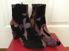 """Steve Madden Size 7 Floral Velvet Black Booties 3"""" Heel NEW"""