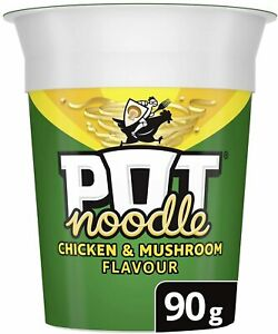 Pot Noodle Chicken & Mushroom Flavour Lunch Snack Noodles - 90g - Pack Of 12