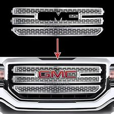 2016-17 GMC Sierra 1500 CHROME Snap On Grille Overlay 3 Bar Grill Covers Inserts