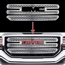 2016-18 GMC Sierra 1500 CHROME Snap On Grille Overlay 3 Bar Grill Covers Inserts