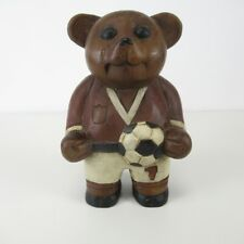 More details for wooden carved bear figurine w/ football soccer sports kit no. 7 ornament 23 cm