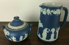 Wedgwood Jasperware Cream on Blue Pitcher & Sugar Pot Bowl with Lid (Some Chips)