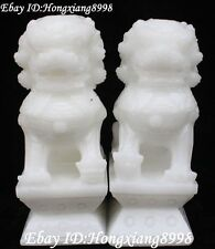 Chinese Dynasty Natural White Jade Lion Lions imperial Seal Stamp Signet Statue