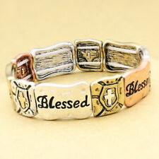 Blessed Christian Religious Cross Stretch Cuff Bracelet Bangle Retro Gold Silver