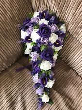 Scottish Wedding Flowers Bride's Bouquet Thistles, Purple, White & Lilac Roses