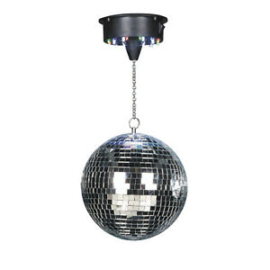 """Sound Activated 8"""" Mirror Glitter Ball Hanging Disco light 18 LEDs and motor"""