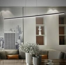 Linear Contemporary Black Suspended LED Pendant Light Boardoom Dining Table Pool