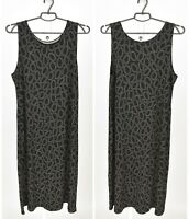 Womens Gudrun Sjoden Tencel Tank Dress Black Printed Stretch Sleeveless Size XL