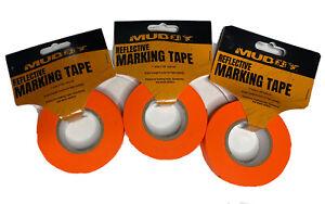 "LOT OF 3 -  Bright Orange Reflective Ribbon Marking Tape 1"" x 150' - Total 450'"