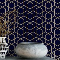 Navy and gold hexagon removable wallpaper / geometric wallpaper / self adhesive