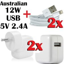 2x12W Wall USB Charger Adapter+ Cables For iPhone 6 5S 5C iPad 4 Air Mini 1 2 3