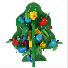 1 Set Wooden Fruit Tree Beads Building Thread Sewing Crafts School Supply Shan