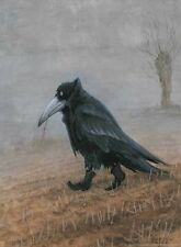 NEW! BLACK CROW POSTER BY RUDI HURZLMEIER 18x24 dark painting for bird lover's