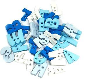 50 pcs a to z abc letter alphabet button 2 hole for crafts mix blue & white tone
