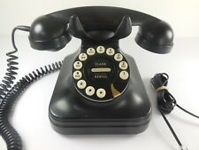 Grand Black Desktop Retro Rotary Style Push Button Corded Telephone Pottery Barn