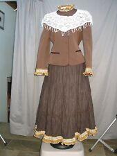 Victorian Dress Womens Edwardian Costume Civil War Prairie Western & Hat M