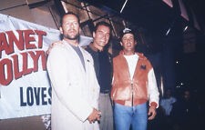 Planet Hollywood press pose 35mm slide Schwarzenegger Willis Stallone at opening