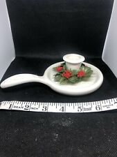 Cute Unique Ceramic Christmas Candle Holder With Holly. Made In Japan