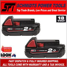 2x MILWAUKEE M18B2 M18 18V 2.0Ah GENUINE RED LITHIUM BATTERIES 18 VOLT AUS STOCK
