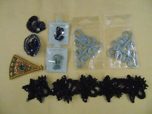 Vtg  Applique Beaded Sequined Bling, Curlicues & Fancy Clasps LOT of 8