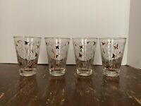 Vintage Mid Century Libbey Glass White And Gold Flower 8 Ounce Tumbler Set of 4
