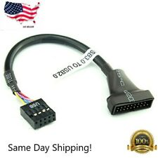 New Portable USB 3.0 20-pin Header Male to USB 2.0 9-pin Female Adapter Black