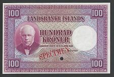 Iceland Landsbanki Islands, 100 kronur L.1928 first Issue P30ct Color Trial Unc