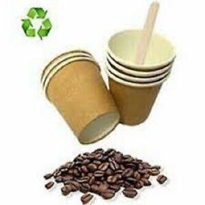 500 BICCHIERI DI CARTA 75 ml CHICCO DA CAFFÈ + 500 PALETTINE IN LEGNO BETULLA