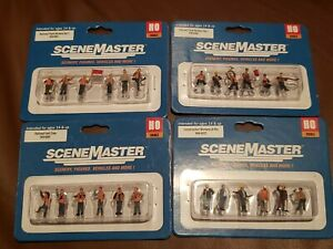HO Scale Walthers Scenemaster Sets Figures Railroad Track Workers Construction +