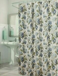 Waverly Fabric Shower Curtain Blue Floral Hooks Included 72x72