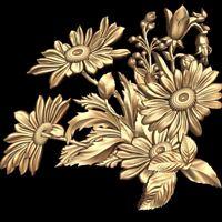 (851) STL Model Flower Decor for CNC Router 3D Printer  Artcam Aspire Bas Relief