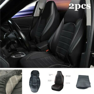 2pcs Car SUV Front Seat Cover Protector Cushion Black&Gray PU Leather Interior