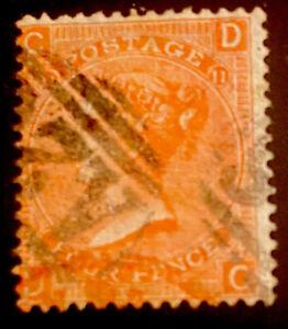 GREAT BRITAIN SCOTT 43a USED FINE - 1865 4p DL VERM VICTORIA ISSUE     CV $72.50