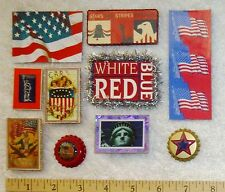 10 American Patriotic Magnets Flags Postcard Images Liberty Star, Handmade