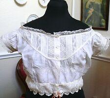 1850-60 Antique Corset Cover Camisole Chemise Cotton Off the Shoulders Design