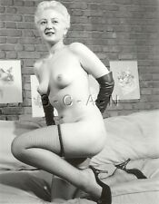 Org Vintage 1940s-60s Nude RP- Blond- Fishnet Stockings- Leather Gloves- Heels