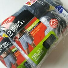 "Hanes Men's Tagless Blue Plaid ComfortSoft Boxers 6 Pair Size Small 28-30"" Lot"