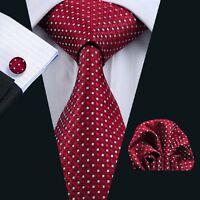 Classic Red White Polka Dot Mens Ties Set Silk Necktie Hanky Cufflinks Wedding