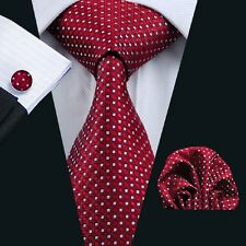 Classic Red Mens Tie Set White Polka Dot Necktie Wedding Hanky Cufflinks C709