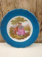 Limoges La Reine Blue & Gold Border Porcelain Display Plate A16 18.5cm