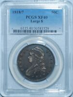 1818/7 PCGS XF40 Large 8 Capped Bust Half Dollar