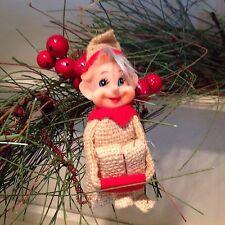 Vintage Christmas Pixie Elf 9 Inch Burlap, Blue Hair