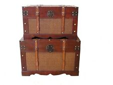 Boston Wood Storage Trunk Wooden Hope Chest Set of 2