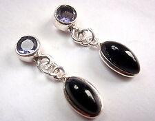 Faceted Iolite Black Onyx Marquise Stud Earrings 925 Sterling Silver Drop Dangle